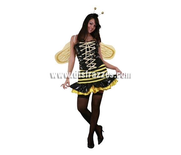 Disfraz barato de Abeja Reina Sexy adulta para Carnaval. Talla Standar M-L = 38/42. Incluye corsé, antenas, falda y alas. Disfraz de Hada Abejita Super Sexy para mujer.
