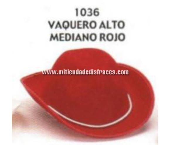 Sombrero Vaquero alto mediano rojo. Buena calidad, fabricado artesanalmente en España. Posibilidad de ajuste de precio para grupos.