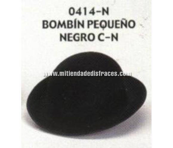 Sombrero Bombín pequeño negro con cinta negra. Buena calidad, fabricado artesanalmente en España. Posibilidad de ajuste de precio para grupos.
