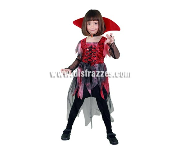 Disfraz de Vampiresa Gtica vestido corto infantil para Halloween. Talla de 10 a 12 aos. Incluye cuello y vestido de Vampira barato de Halloween. ste disfraz de Halloween es ideal para celebrar la Fiesta de la Noche de las Brujas en Pub's, Discotecas, Casas particulares,  Restaurantes o Colegios y ayudar a crear un ambiente terrorfico y tenebroso indispensable para la Noche de Halloween la cual se celebra la vspera de Todos los Santos.