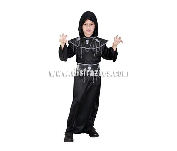 Disfraz de Ejecutor infantil para Halloween barato. Talla de 10 a 12 años. Incluye túnica, capucha, cinturón y collar.