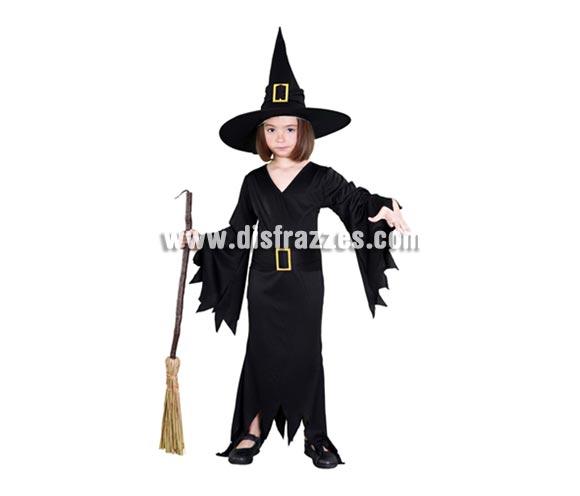 Disfraz de Bruja Negra infantil para Halloween barato. Talla de 7 a 9 años. Incluye sombrero y vestido con cinturón.