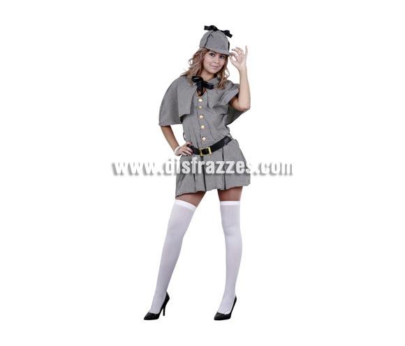 Disfraz de Sherlock Holmes adulta. Talla Standar M-L = 38/42. Incluye sombrero, capelina vestido y cinturón. Un disfraz Sexy ideal para Despedidas de Soltera y para cualquier Fiesta. Éste disfraz está disponible en la talla 44/48 con la ref. 05242BT.