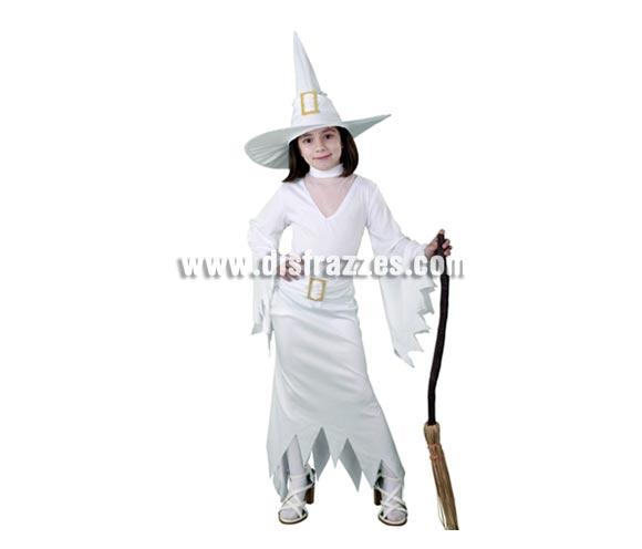 Disfraz de Bruja Blanca infantil barato para Halloween. Talla de 7 a 9 años. Incluye sombrero y vestido con cinturón. Escoba NO incluida, podrás verla en la sección Complementos.
