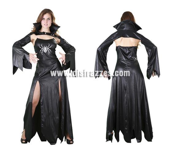 Disfraz de Vampiresa Arácnida adulta para Halloween. Talla estándar M-L = 38/42. Disfraz barato y diferente para Halloween que incluye cuello con mangas y vestido.