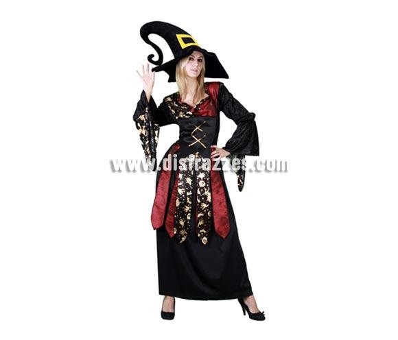 Disfraz de Bruja Maga Caprichosa adulta para Halloween barato. Talla Standar M-L 38/42. Disfraz barato de Bruja que incluye sombrero y vestido. Telas y acabados de buena calidad. Éste disfraz de Halloween hace pareja con la referencia 10746BT.