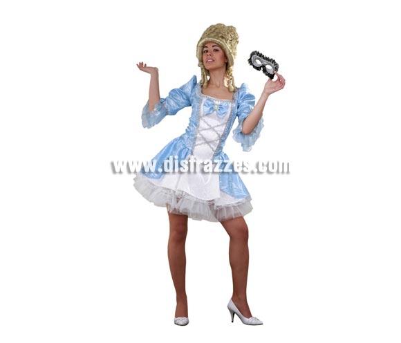 Disfraz de Lady Versalles azul adulta. Talla standar M-L = 38/42. Incluye vestido y enagua. Peluca y antifaz NO incluidos, podrás verlos en la sección Complementos. Disfraz de Época Sexy para mujer.