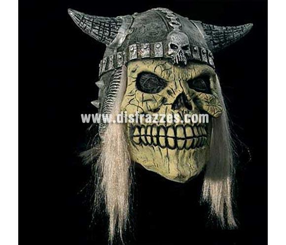 Careta Calavera con casco y pelo para Halloween. Máscara o Careta de Halloween.