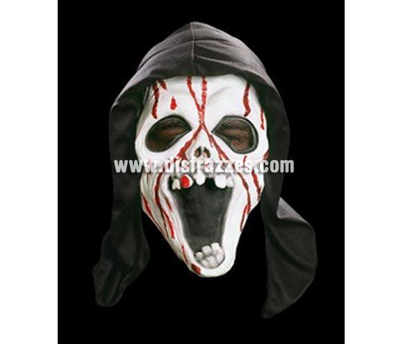 Careta Scream con capucha y sangre para Halloween. Máscara o Careta de Halloween de goma blandit, no es rígida.. ¡¡Compra tu careta o tu máscara para Halloween en nuestra tienda de disfraces, será divertido!!
