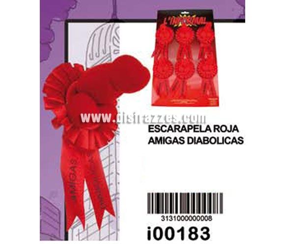 Escarapela roja AMIGAS DIABOLICAS con pene. Precio por unidad. Se venden por separado. Ideal para Despedidas de Soltera.