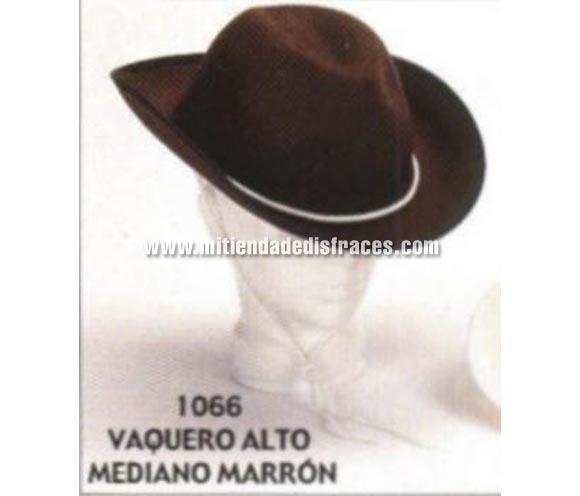 Sombrero Vaquero alto mediano marrón. Buena calidad, fabricado artesanalmente en España. Posibilidad de ajuste de precio para grupos.