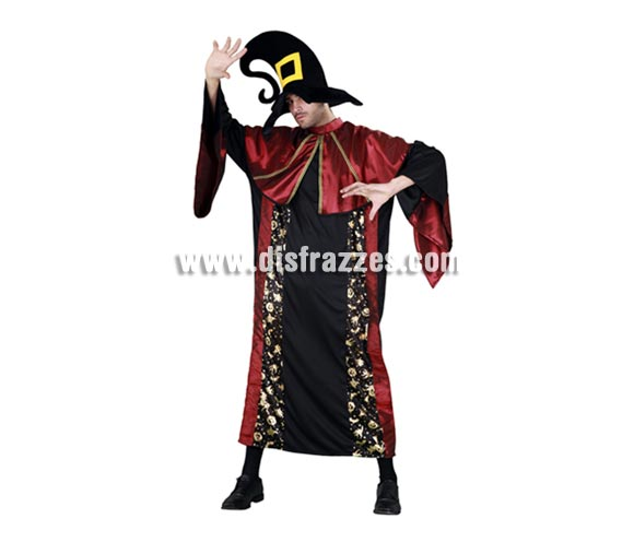 Disfraz de Mago o Brujo Hechicero adulto para Halloween. Talla Standar M-L = 52/54. Disfraz de Halloween barato que incluye sombrero y túnica. Éste disfraz hace pareja con la referencia 10469BT.