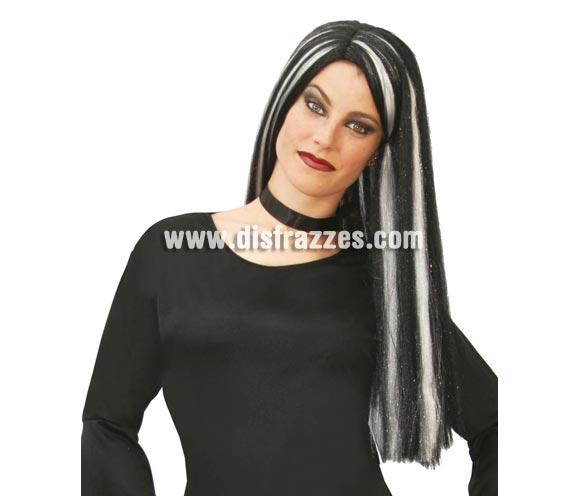 Peluca de Bruja de mecha blancas para Halloween. Peluca de Morticia de la Familia Addams para Halloween.