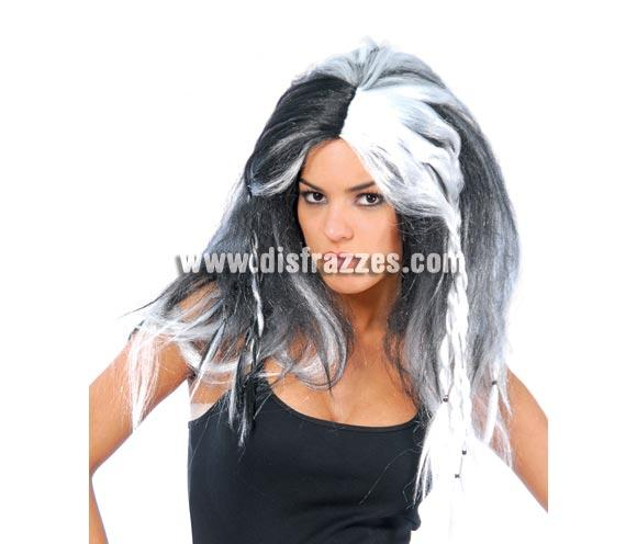 Peluca de Bruja de mechas blancas para Halloween.