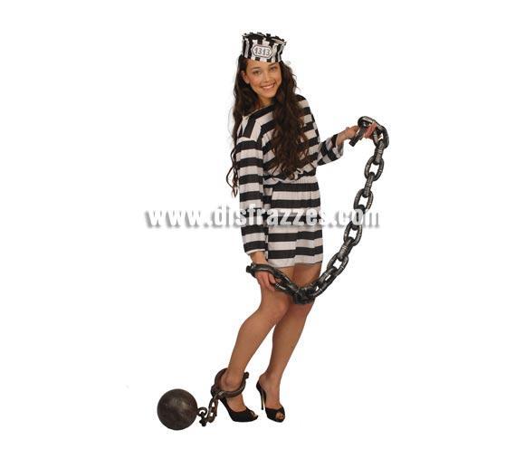 Cadena Grilletes de 130 cm. para Halloween. También para los disfraces de Preso, Prisionero o Presidiario.