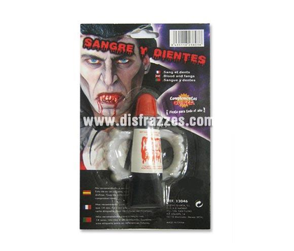 Set que incluye sangre y dientes de Vampiro para Halloween.