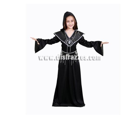 Disfraz de Ejecutora infantil para Halloween barato. Talla de 7 a 9 años. Incluye vestido, cinturón y collar.