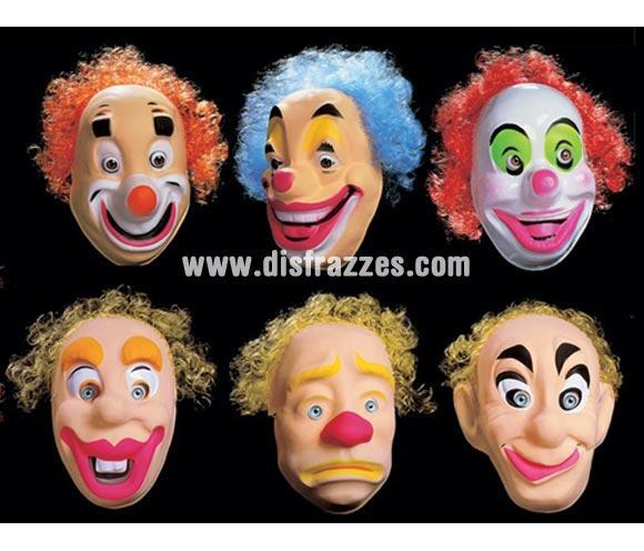 Caretas Clown con pelo para adulto. Caretas de payasos surtidas. Precio por unidad, se venden por separado. Cuando hagas el pedido no olvides ponernos en Observaciones el modelo que quieres, si no nos pones nada interpretaremos que te da igual y te mandaremos uno al azar.