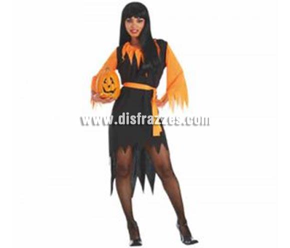 Disfraz de Vampiresa Calabaza adulta para Halloween barato. Talla estándar. Incluye vestido negro y naranja y cinturón. Calabaza NO incluida, podrás ver Calabazas en la sección Decoración para Halloween.