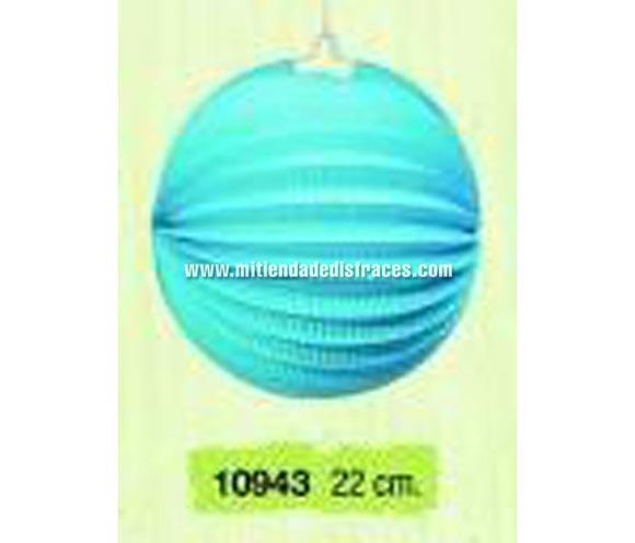 Farol esferico azul 22 cm.