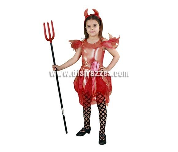 Disfraz de Diablilla o Diablesa infantil para Halloween barato. Talla de 7 a 9 años. Incluye diadema con cuernos y vestido. Tridente NO incluido, podrás verlo en la sección Complementos.