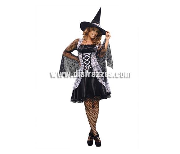 Disfraz de Bruja Gris vestido corto adulta para Halloween. Talla estándar M-L = 38/42. Incluye vestido y sombrero de buena calidad.
