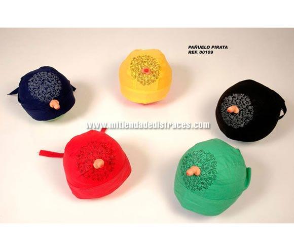 Pañuelo pirata con pene. Varios colores. Se venden por separado.  Perfecto para Despedidas de Soltero o Soltera.