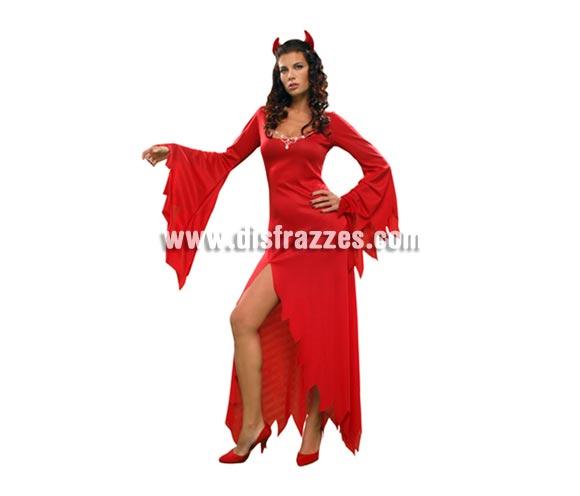 Disfraz de Diablesa Hechicera adulta para Halloween. Talla estándar M- L = 38/42. Disfraz barato para Halloween que incluye vestido y cuernos. Disfraz de Demonia Sexy.