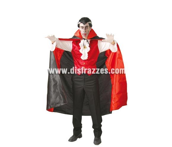 Capa Vampiro Hombre de color rojo y negro para Halloween de 130 cm. Capa de Drácula para Halloween en talla única de adulto.