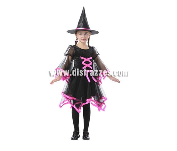 Disfraz de Bruja con lazo rosa infantil barato para Halloween. Talla de 5 a 6 años. Incluye vestido y gorro.