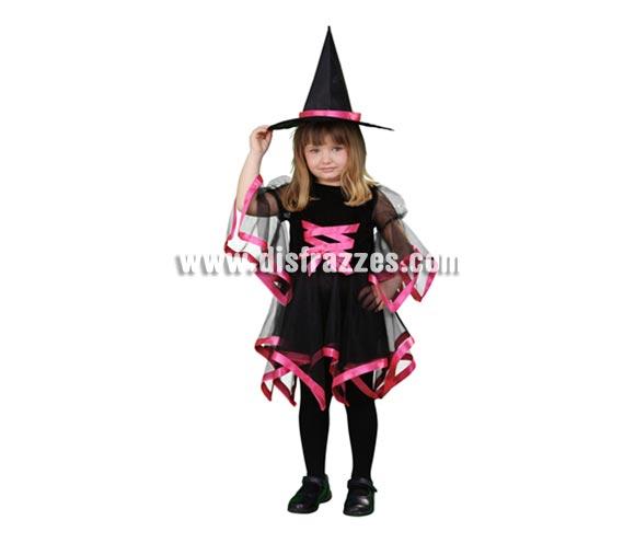 Disfraz de Bruja con lazo rosa infantil barato para Halloween. Talla de 3 a 4 años. Incluye vestido y gorro.