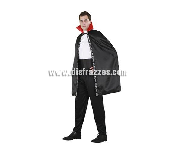 Capa Vampiro negra adultos para Halloween. Talla Universal. Incluye la capa negra.