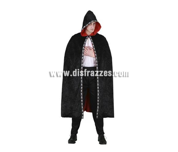 Capa de terciopelo con capucha negra adultos para Halloween. Talla única de adultos. Incluye la capa.