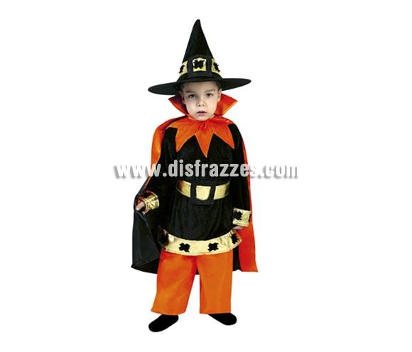 Disfraz de Brujo o Mago bebé barato para Halloween. Talla de 1 a 2 años. Incluye sombrero, blusón, cinturón, pantalones y capa.
