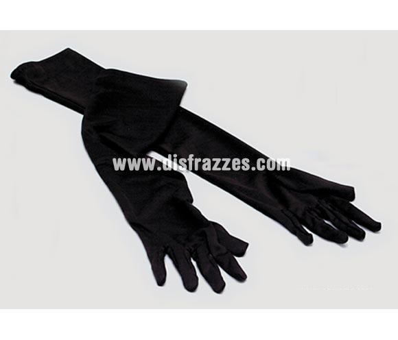 Guantes largos negros adaptables de 37 cm. para Carnaval y Halloween. Charlestón, Cabaret, Vampiresa.