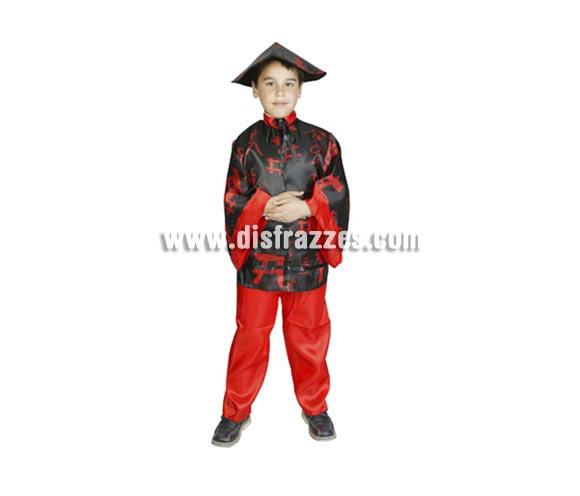 Disfraz barato de Chino Negro infantil para Carnaval. Talla de 7 a 9 años. Incluye camisa, pantalones y sombrero.