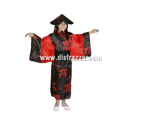 Disfraz barato de China Negro infantil para Carnaval. Talla de 7 a 9 años. Incluye vestido, sombrero y cinturón.