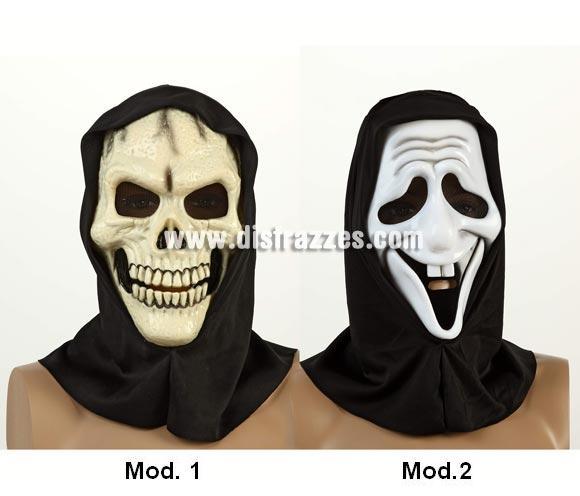 Máscara PVC de 27x17 cm. con capucha para Halloween. Dos modelos surtidos, precio por unidad, se venden por separado.