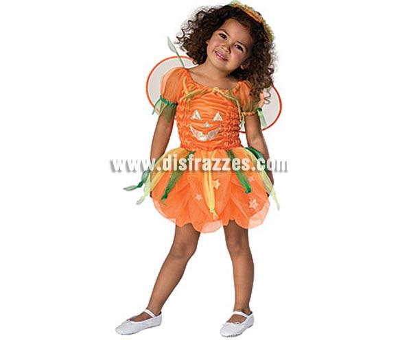 Disfraz de Hada Calabaza niña para Halloween. Talla de 3 a 4 años. Incluye vestido con alas y tocado. Éste disfraz de Halloween es ideal para celebrar la Fiesta de la Noche de las Brujas cada vez más arraigada en nuestro País.