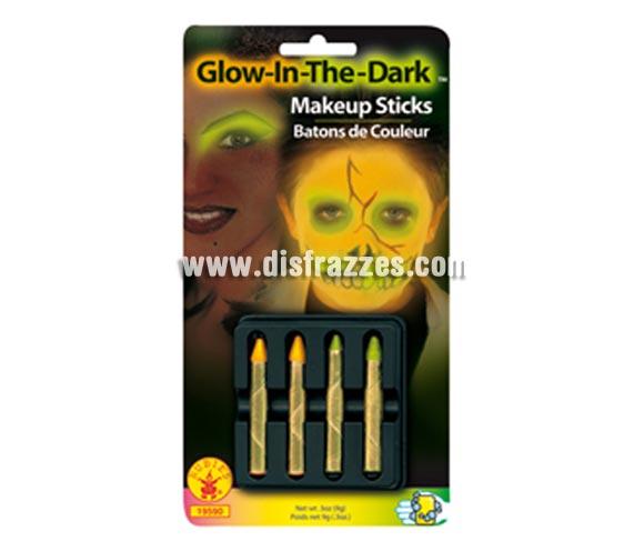 Barras de maquillaje fluorescente para Halloween o para Carnaval. Blister de 4 barras.