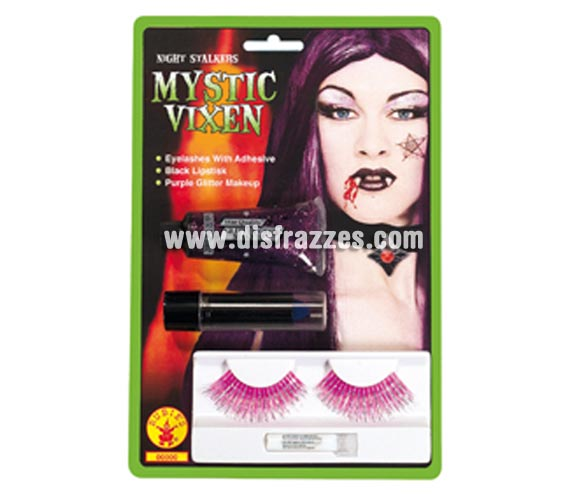 Set de maquillaje de Vampiresa púrpura para Halloween. Incluye pestañas, pintalabios y gel glitter.