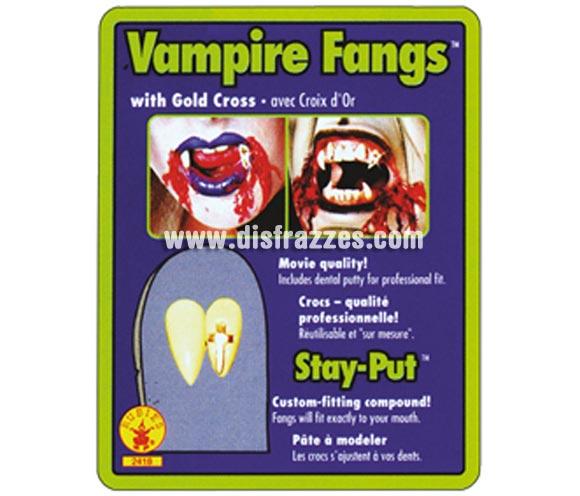 Dientes o Colmillos de Drácula con Cruz dorada para Halloween.