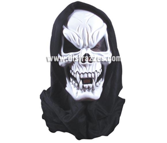 Máscara de Calavera Esqueleto colmillos y con capucha para Halloween. Máscara o Careta de Halloween.