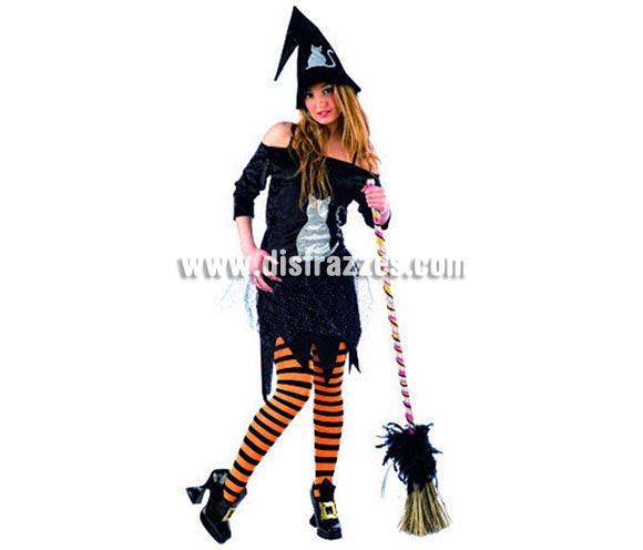 Disfraz de Bruja Gato adulta deluxe para Halloween. Varias tallas. Incluye vestido, tutú (falda) y gorro. Escoba NO incluida, podrás ver escobas en la sección Complementos. Alta calidad. Hecho en España.