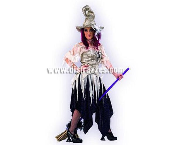Disfraz de Bruja de la Oscuridad adulta Extralujo para Halloween. Varias tallas. Incluye camisa, falda, corpiño, gargantilla y sombrero. Escoba NO incluida, podrás ver escobas en la sección de Complementos. Altísima calidad. Hecho en España. Éste disfraz de Halloween es ideal para celebrar la Fiesta de la Noche de las Brujas en Pubs, Discotecas, Casas particulares,  Restaurantes o Colegios y ayudar a crear un ambiente terrorífico y tenebroso indispensable para la Noche de Halloween la cual se celebra la víspera de Todos los Santos. ¡¡Compra tu disfraz para Halloween en nuestra tienda de disfraces, será divertido!!