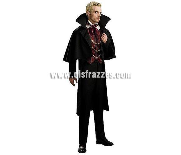 Disfraz de Barón o Vampiro adulto para Halloween. Talla estándar de hombre. Incluye chaqueta con capa, camisa con chaleco y pañuelo para el cuello.