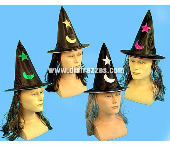 Sombrero de Bruja con pelo para Halloween. Cuatro modelos surtidos, precio por unidad.