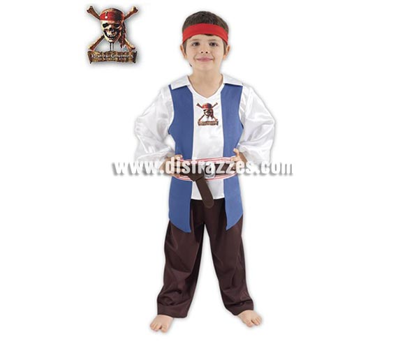 Disfraz o traje de Jack Sparrow para nio. Talla de 5 a 6 aos. Incluye disfraz completo. Disfraz con licencia Disney ideal para regalar. 