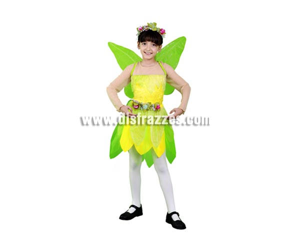 Disfraz de Hada verde infantil para Carnaval y para Navidad barato. Talla de 7 a 9 años. Incluye vestido, alas y tocado. Disfraz de Ninfa verde para niñas. También podría servir como disfraz de Campanilla.