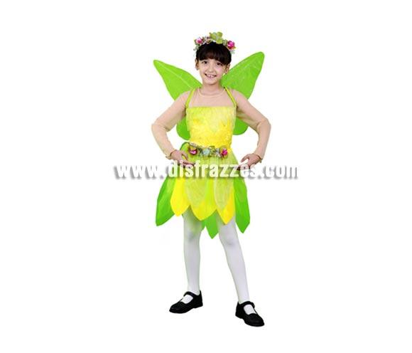 Disfraz de Hada verde infantil para Carnaval y para Navidad barato. Talla de 5 a 6 años. Incluye vestido, alas y tocado. Disfraz de Ninfa verde para niñas. También podría servir como disfraz de Campanilla.